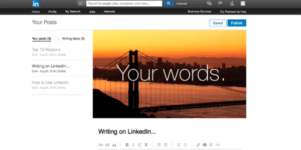 linkedin publishing experience