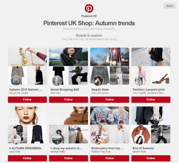 pinterest uk shop