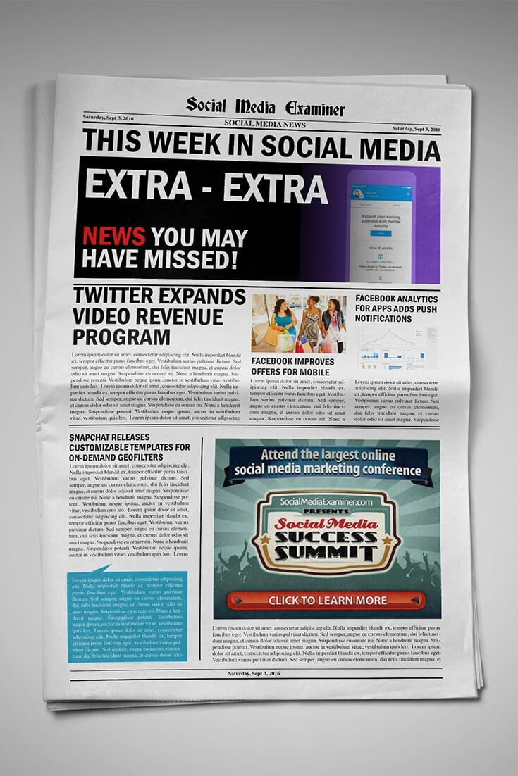 Twitter Opens Pre-Roll Video Ads and Video Revenue Sharing and other social media news for September 3, 2016.