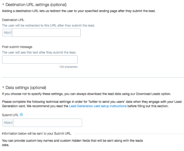 connect twitter lead card to marketing software