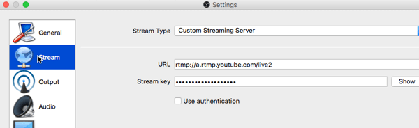 youtube live setup with open broadcast software