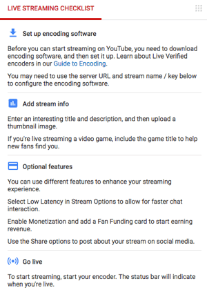 youtube live streaming checklist