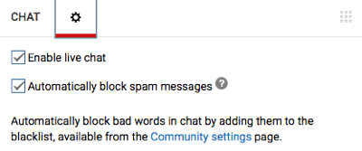 youtube live chat options