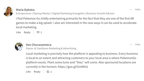 linkedin comment on article