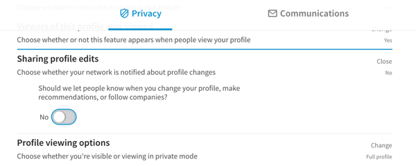 linkedin profile edits notifications