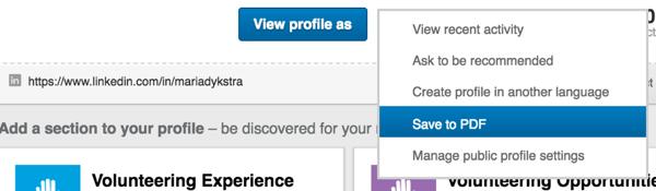 linkedin profile save as pdf
