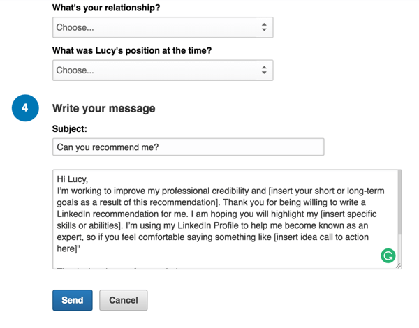 linkedin recommendation request