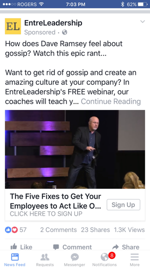 dave ramsey facebook video