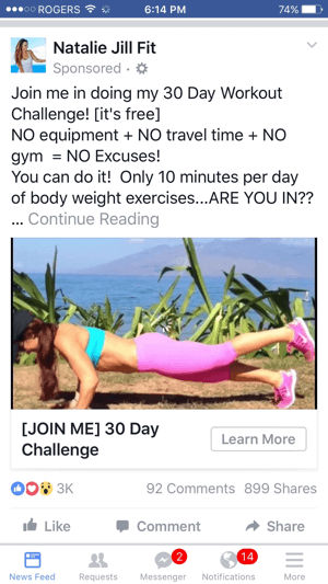 Natalie Jill Fit Facebook Video