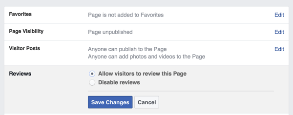 facebook page reviews setting