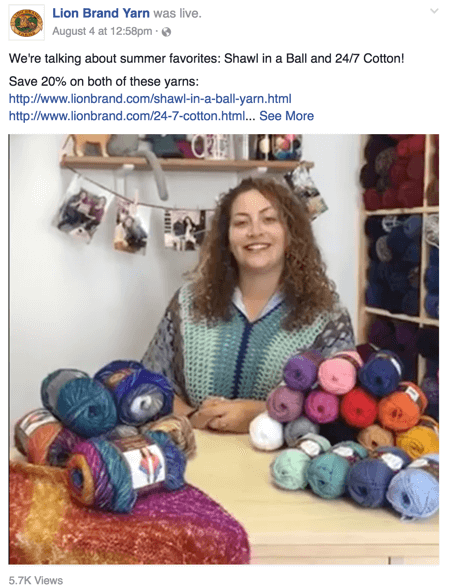 lion brand yarn facebook live