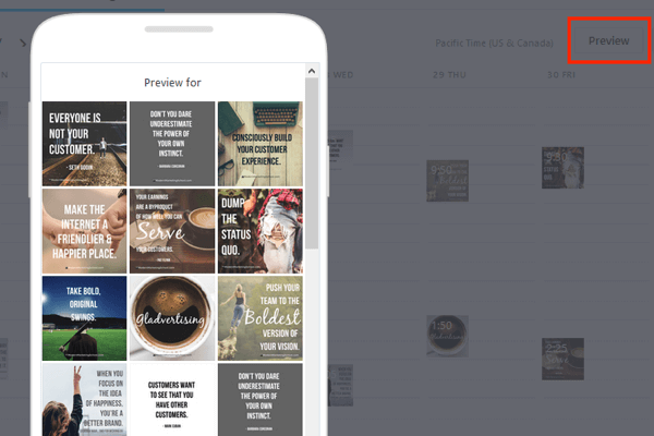 later allows you to preview your post feed to plan ahead for artistic presentation