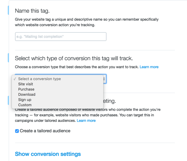 twitter ads set up conversion event