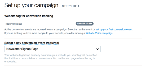 create twitter website conversions ad