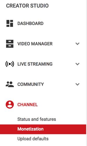 monetization menu option under channel on youtube