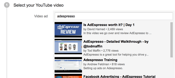 search for your ad video by keyword or url