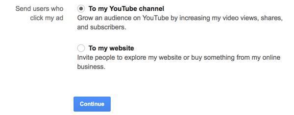youtube ad click conversion destination setting