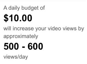 ungefähre Anzahl der projizierten Aufrufe von YouTube-Anzeigen