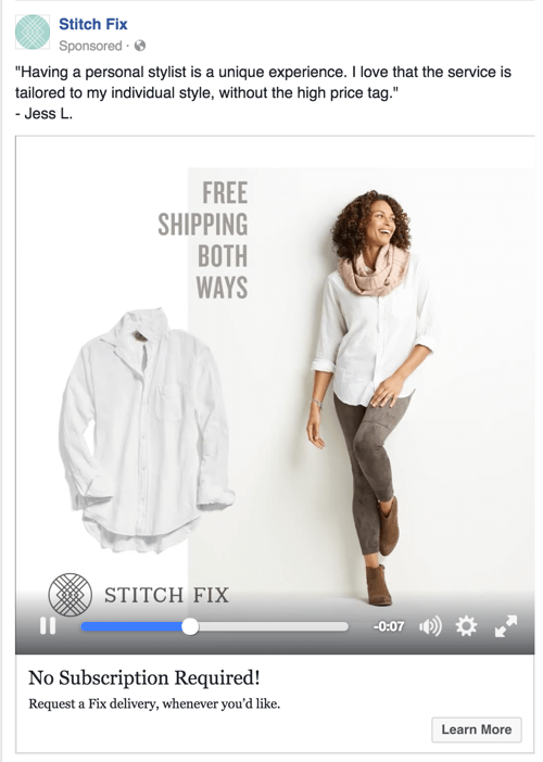 stitch fix facebook video ad retargeting