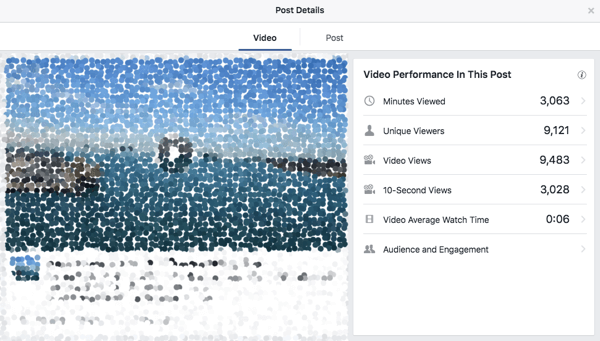 video metrics in facebook