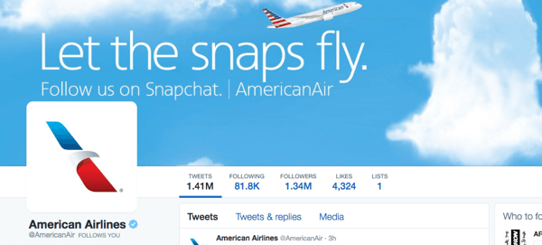 american airlines twitter image with snapchat