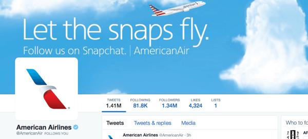 Twitter-Bild der amerikanischen Fluggesellschaften mit Snapchat