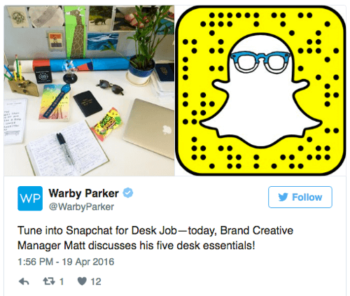 warby parker snapchat