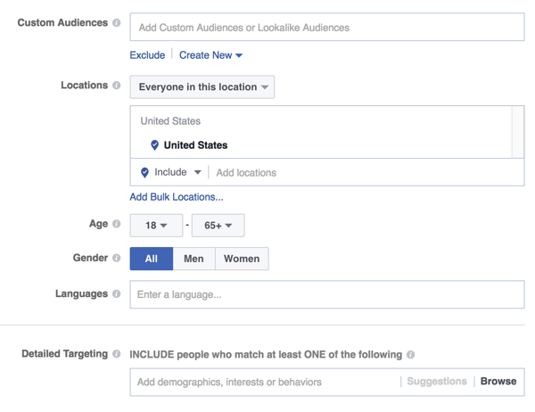 facebook ad audience targeting options