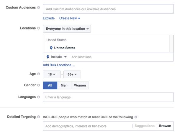 Optionen für die Ausrichtung von Facebook-Anzeigenpublikum