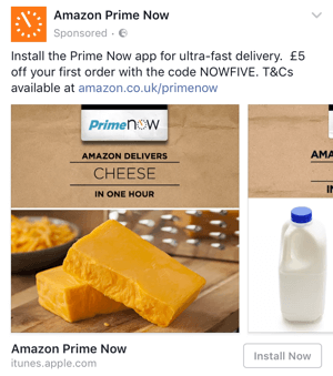 amazon prime targeted facebook offer with discount