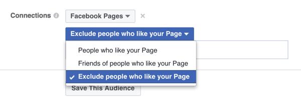 Facebook Ad Targeting-Option zum Ausschließen von Personen, denen eine Seite bereits gefällt