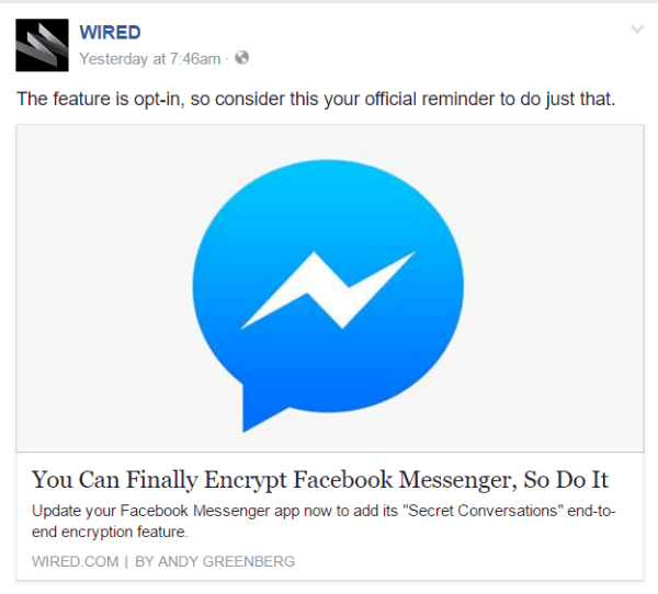 facebook end to end encryption