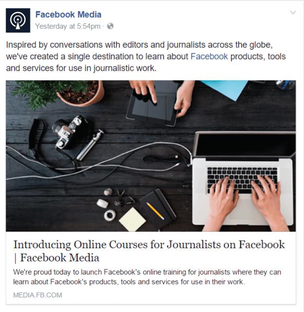 facebook online course journalists