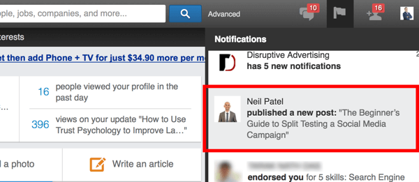 linkedin pulse notification
