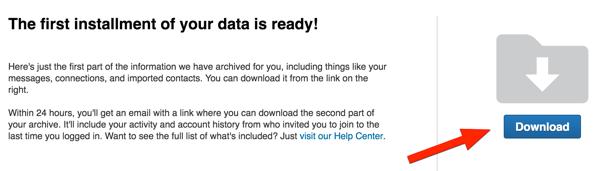 linkedin download archive