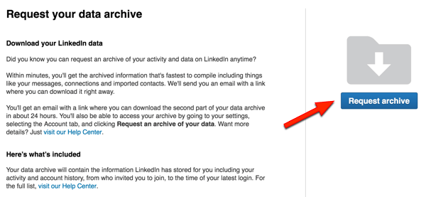 linkedin download archive