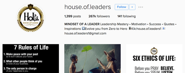 house of leaders instagram bio