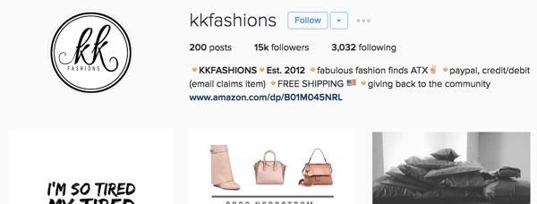 kk fashions instagram bio