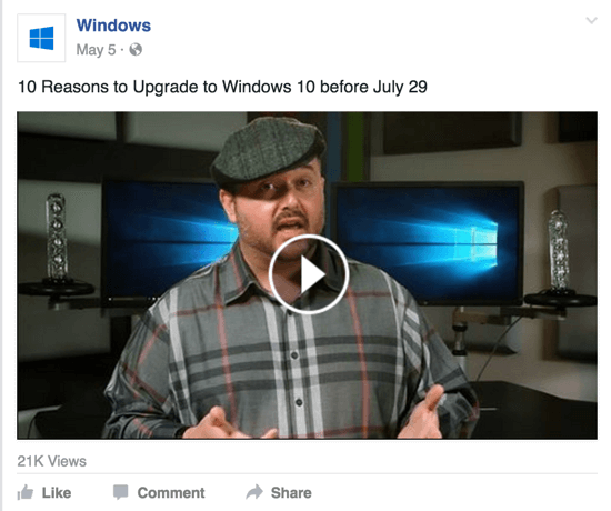 windows facebook video