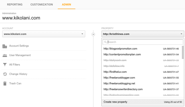 google analytics create property