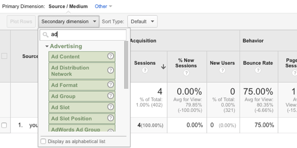 add column to google analytics