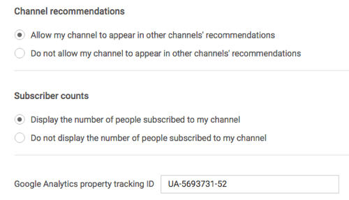 google analytics tracking id in youtube settings