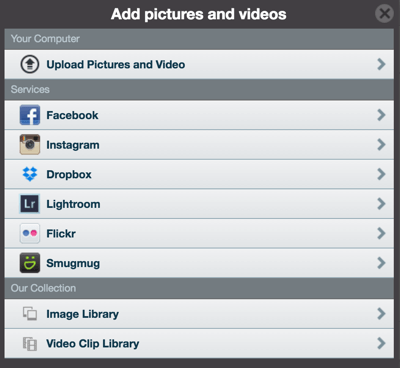 animoto add photos and videos