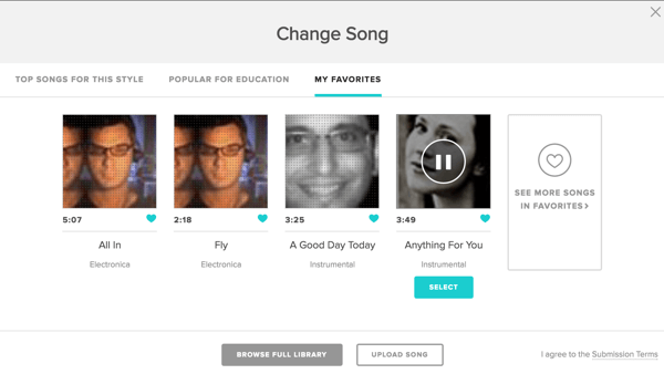 animoto change song