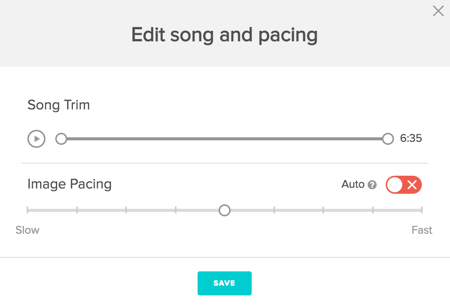 animoto edit song and pacing