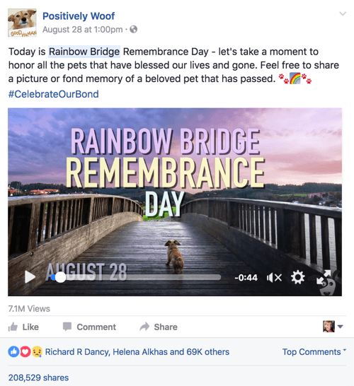 positively woof facebook post