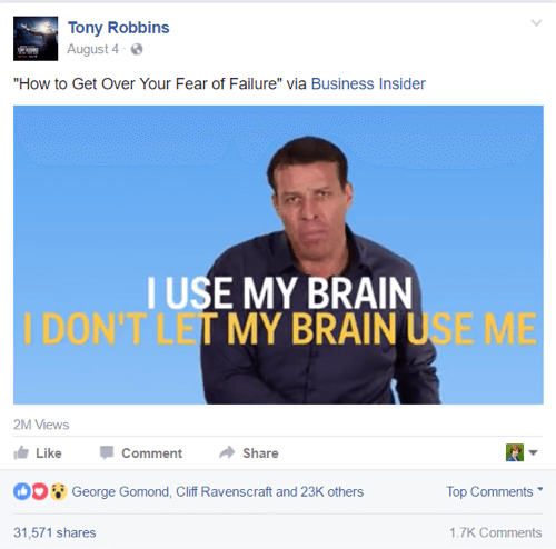 tony robbins facebook post