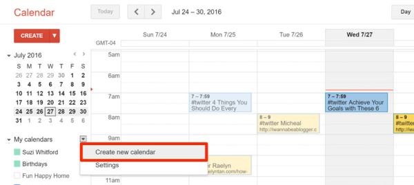 create google calendar