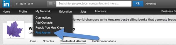 linkedin find alumni
