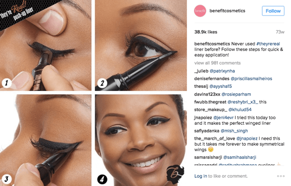 Benefit often uses photo collages in their Instagram posts.